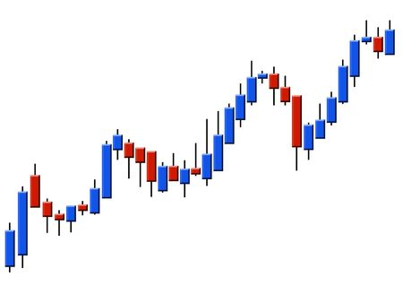 forex trading: The schedule forex in the form of candles against the white background