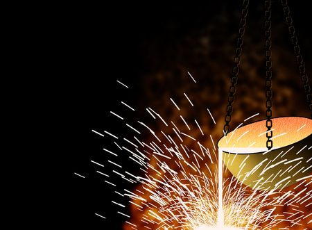foundry: Melt metals and steels in a fiery copper Stock Photo