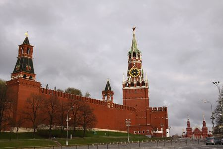 spassky: Kremlin. Red square in Russia. Spassky Tower