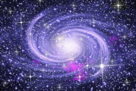 Big spiral galaxy in far star space Stock Photo