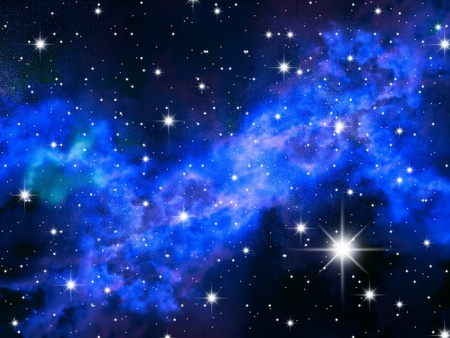 The night sky in stars and blue galaxies photo