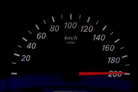 kph: High speed on an automobile speedometer. Races Stock Photo