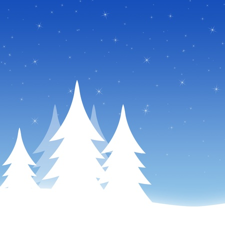 White winter landscape and the star sky Stock Photo - 9027986