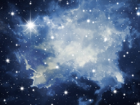 galaxies: The night sky in stars and blue galaxies