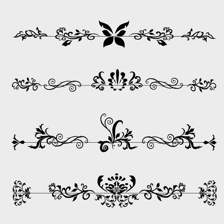 vintage pattern background: dividers for books on a white background