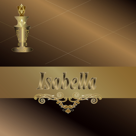 Bronze background with the inscription Isabella Illustration