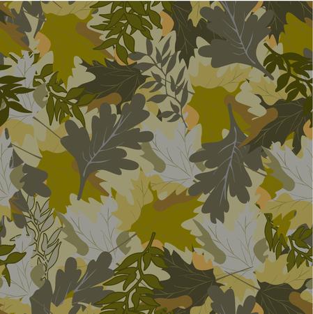 khaki background with autumn leaves 2 Illustration