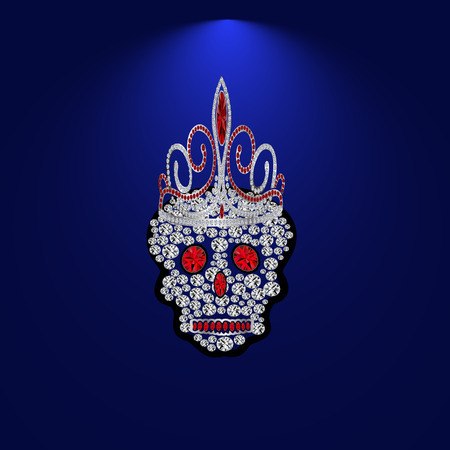 rnb: Skull of precious stones on a blue background. With tiara of brilliantov.Vektor illustration.