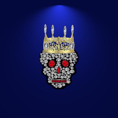 Skull of precious stones on a blue background. With tiara of brilliantov.Vektor illustration.