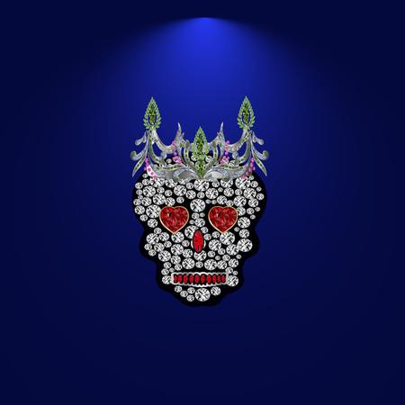 precious stones: Skull of precious stones on a blue background. With tiara of brilliant