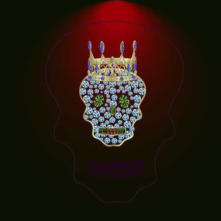 Skull of precious stones with a crown of gold and sapphires