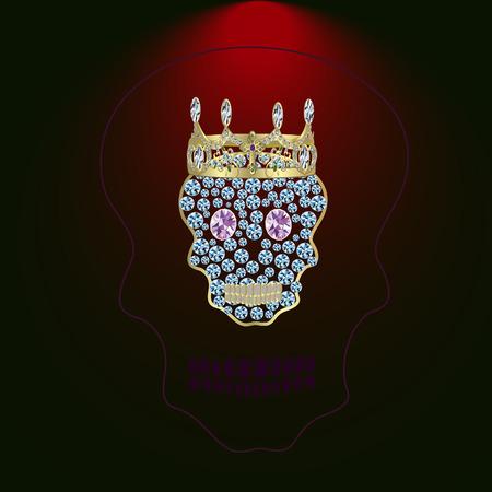 Skull of precious stones with a tiara with diamond eyes