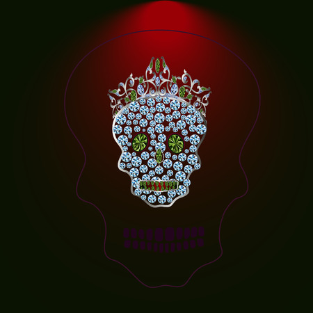 Skull of precious stones with a tiara with green stones and diamonds