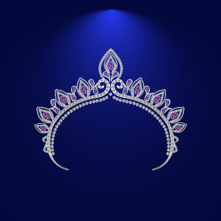 stage costume: illustration tiara crown womens wedding with a light red stones