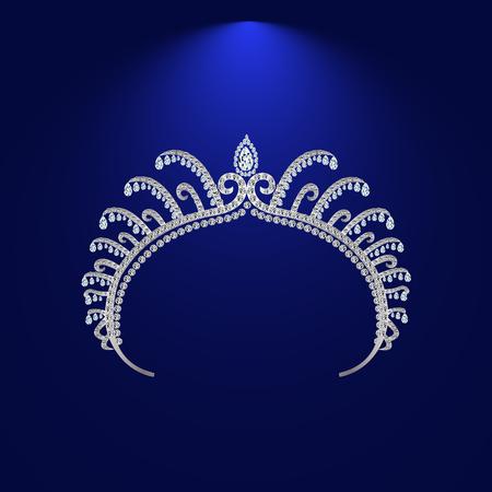 diadem corona feminine wedding with light stone Illustration