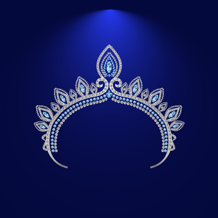 illustration tiara crown womens wedding with a light blue stones