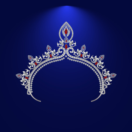 illustration tiara crown womens wedding with a light red stones