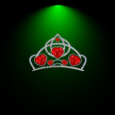 precious stones: female headdress made of precious stones with ruby hearts  illustration
