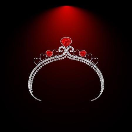 diamond shaped: female headdress made of precious stones with ruby hearts illustration Illustration