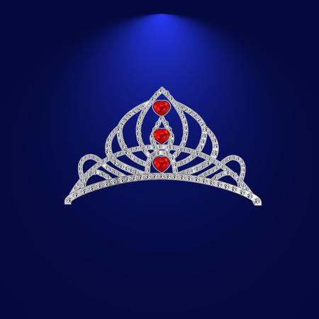 precious stones: female diadem of precious stones with ruby hearts  illustration