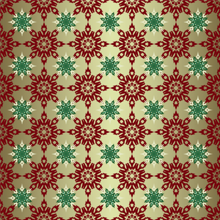 Seamless Christmas Background With Snowflakes Gold Colored Wallpaper Vector