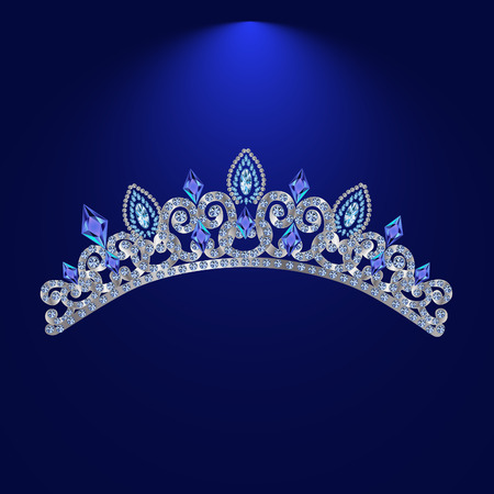 stage costume: silver wedding female hair ornament with precious stones on a blue background