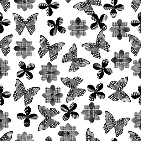 pattern: Seamless butterfly background with geometric pattern black and white