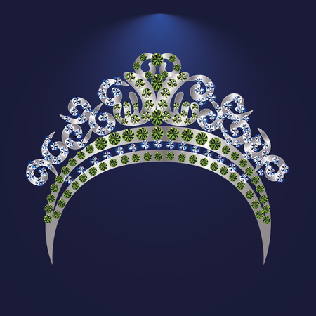 illustration tiara crown womens wedding with a  stone - stock vector