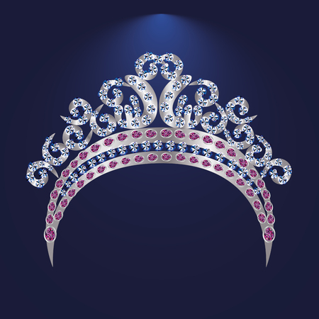 illustration tiara crown women's wedding with a  stone - stock vector Иллюстрация
