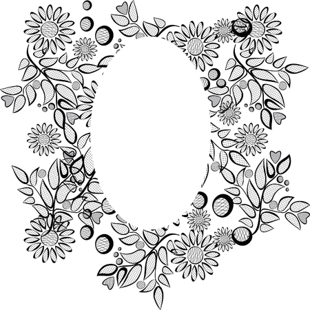 Floral corner design. Ornament black flowers on transparent background - vector stock. Decorative border with flowery elements, pattern. Wedding card with flourish swirl and circles 版權商用圖片 - 125659503