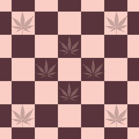 background of multi-colored tiles with the image of cannabis leaves