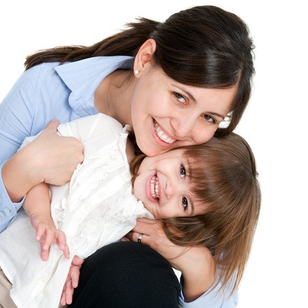 kid friendly: Close up portrait of friendly mother and her daughter. Isolated on white background. Stock Photo