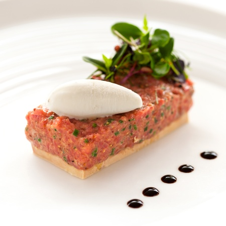 gastronomic: Close up of beef tartar with foie gras Stock Photo