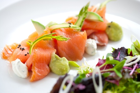 smoked salmon: Close up of smoked salmon salad with green asparagus