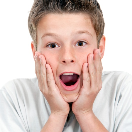 Close up portrait of boy with surprising face expression Isolated on white  Stock Photo - 12671664