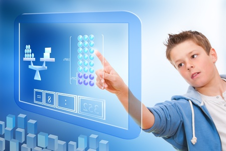 Young student touching virtual digital futuristic screen  Stock Photo