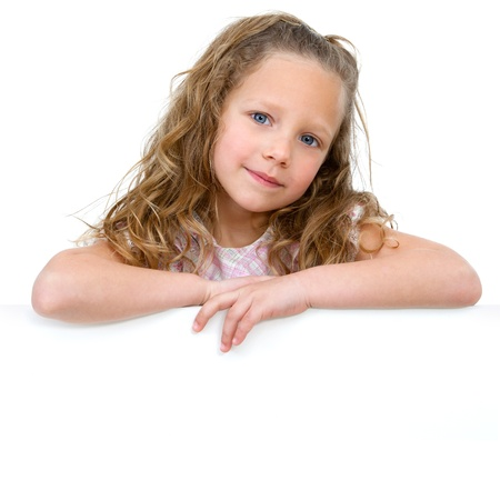 Close up Portrait of little girl with white copy space  Isolated on white background Stock Photo - 12671654