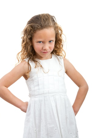 Portrait of  little girl with angry face expression  Isolated on white background  Stock Photo - 12671660