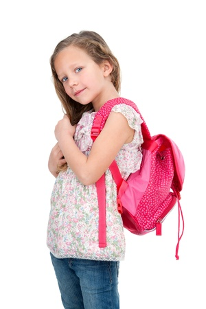 school bag: Portrait of cute blond girl with school bag  Isolated on white  Stock Photo
