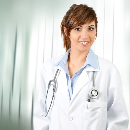Portrait of Attractive young cofident female doctor with stethoscope in Hospital. Stock Photo - 13112026
