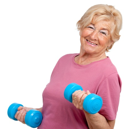 elderly exercise: Portrait of healthy senior  woman working out with weights Isolated on white