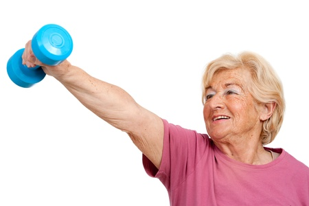 Portrait of healthy senior womandoing fitness exercise Isolated on white  Stock Photo - 13294563