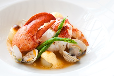 Macro close up of lobster with shellfish. Stock Photo