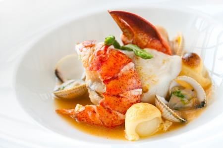 lobster: 해산물 요리 새우와 조개의 매크로 닫습니다.