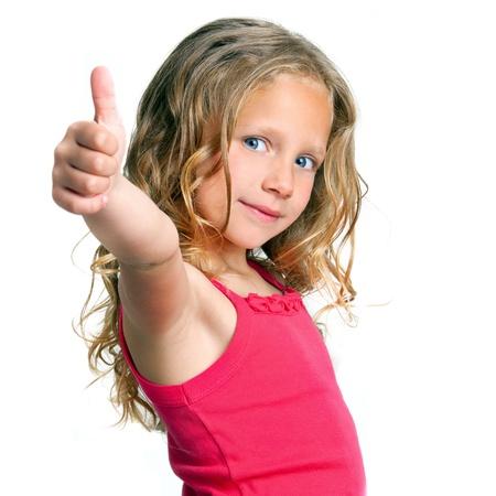assentiment: Close up portrait de la jolie fille montrant thumbs up isol� sur blanc Banque d'images