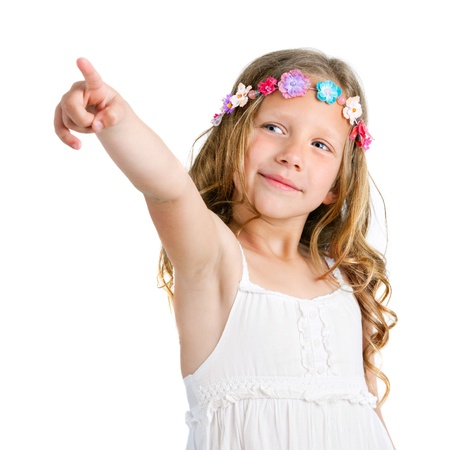 little finger: Portrait of cute blond girl pointing with finger  Isolated on white