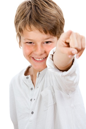beautiful little boys: Close up Portrait of handsome boy pointing at you Isolated on white  Stock Photo