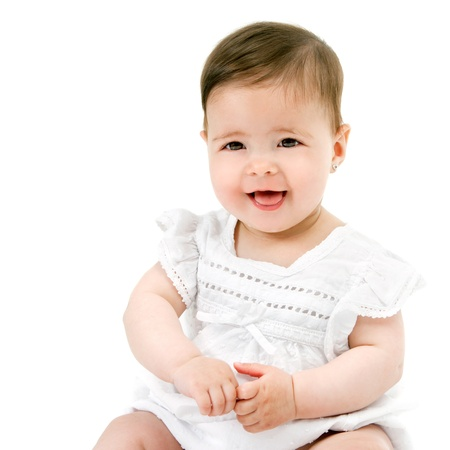Portrait of cute little baby girl smiling  Isolated on white background Stock Photo - 14174464