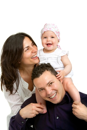 Close up Portrait of young couple having fun with their daughter  Isolated on white background Stock Photo - 14174472