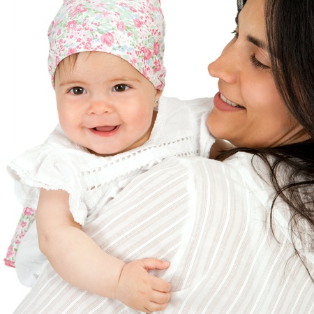 Portrait of young mother with her baby daughter  Isolated on white background Stock Photo - 14174478